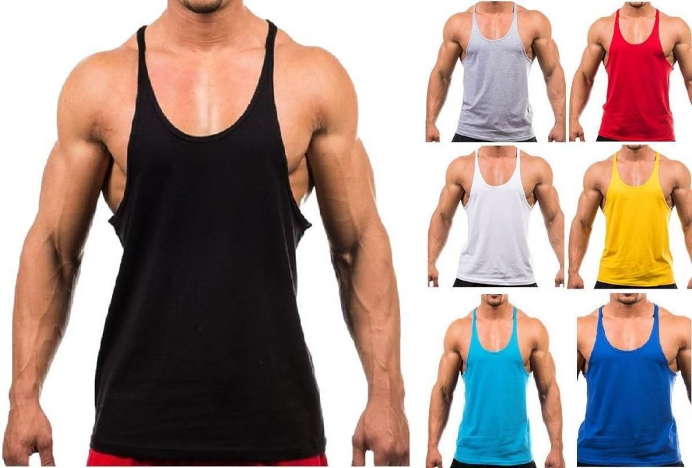 NEW MENS PLAIN GYM VEST BODYBUILDING MUSCLE STRINGER VEST Y BACK RACERBACK LOT